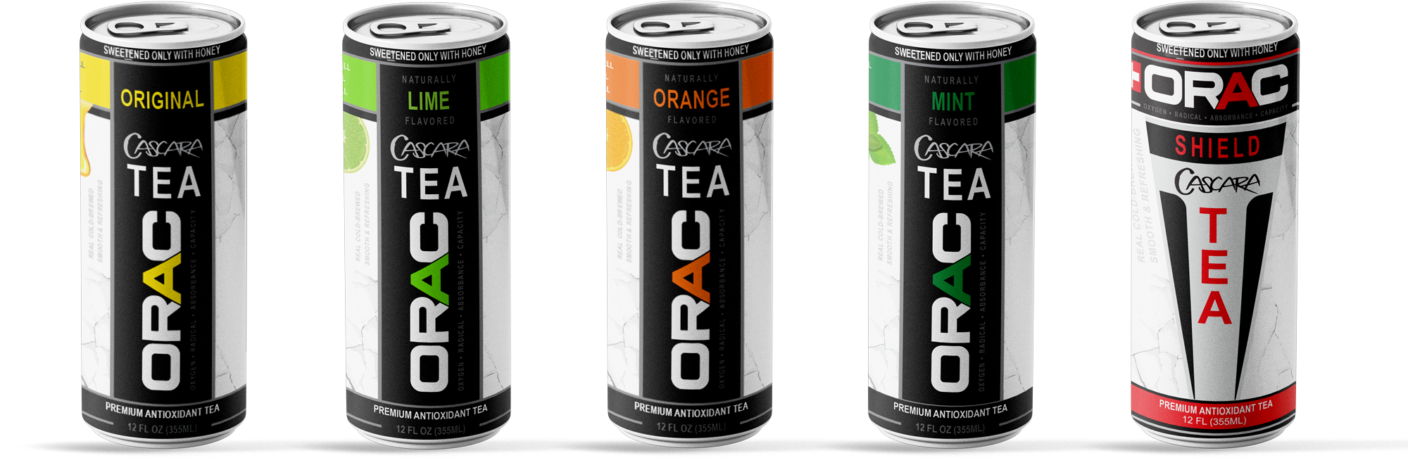 Our line of ORAC Teas; Original, Lime, Orange, Mint, Shield