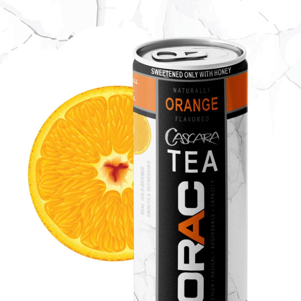 ORAC Orange Tea Cascara steeped in purified water, with a zest of Orange, a swirl of Honey.